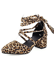 cheap -Women's Sandals Print Shoes Chunky Heel Round Toe Suede Casual Summer Leopard / Black
