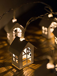 cheap -LED Small House Light String Nordic Christmas Decoration Light Wooden House Light String
