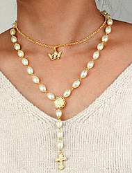 cheap -Women's Pendant Necklace Necklace Layered Necklace Classic Cross Angel Classic Vintage Trendy Fashion Imitation Pearl Chrome Gold 55 cm Necklace Jewelry 1pc For Anniversary Party Evening Engagement