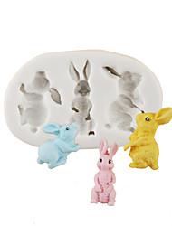 Недорогие -пасхальный мультфильм кролик кролик шоколад плесень торт плесень силиконовые формы семья помадка выпечки инструменты