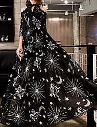 cheap -A-Line Glittering Black Prom Formal Evening Dress Halter Neck Half Sleeve Floor Length Polyester with Sequin Appliques 2020