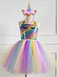 cheap -Kids Little Girls' Dress Rainbow Gold Silver Light Blue Cute Dresses