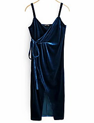 cheap -Women's Blue Dress A Line Polka Dot Strap S M