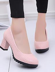 cheap -Women's Heels Chunky Heel Round Toe PU Minimalism Spring & Summer Black / White / Pink