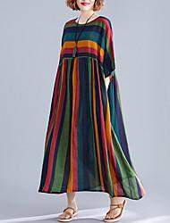 cheap -Women's Maxi Green Dress Shift Striped One-Size Loose