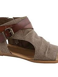 cheap -Women's Sandals Flat Heel Open Toe Canvas Summer Brown / Gray