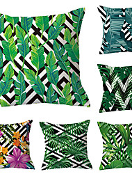cheap -Set of 6 Polyester Pillow Cover, Geometric Leaf Simple Pastoral Square Traditional Classic Throw Pillow