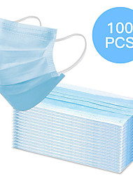 cheap -100 pcs Face Mask Waterproof Breathable Disposable Protection 3 Layers Nonwoven Fabric Melt Blown Fabric Filter Blue