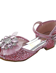 cheap -Girls' Mary Jane / Flower Girl Shoes PU Sandals Dress Shoes Little Kids(4-7ys) / Big Kids(7years +) Rhinestone / Sparkling Glitter / Sequin Pink / Blue / Silver Spring / Summer / Party & Evening