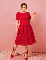 cheap -A-Line Plus Size Red Engagement Cocktail Party Dress Jewel Neck Short Sleeve Tea Length Lace with Pleats 2020