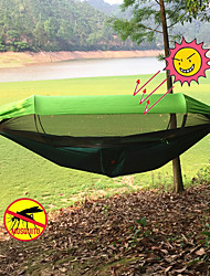 cheap -Camping Hammock with Pop Up Mosquito Net Double Hammock Outdoor Portable Lightweight Sunscreen Parachute Nylon with Carabiners and Tree Straps for 2 person Hunting Fishing Camping Orange Dark Green