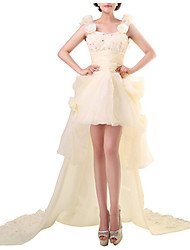 cheap -Sheath / Column Sweetheart Neckline Asymmetrical Polyester Floral / White Engagement / Formal Evening Dress with Sequin / Appliques 2020