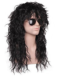 cheap -Synthetic Wig Curly Loose Curl Halloween Asymmetrical Wig Long Natural Black Synthetic Hair 20 inch Men's Best Quality Black