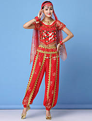 cheap -Women's Dancer Belly Dance Masquerade Tassel Sequins Sequin Polyster Fuchsia Red Green Top Pants