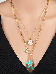 cheap -Women's Pendant Necklace Necklace Layered Necklace Stacking Stackable Starfish Shell Classic Rustic Vintage Bohemian Imitation Pearl Chrome Shell Gold 60 cm Necklace Jewelry 1pc For Street Beach