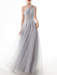 cheap -A-Line Sexy Grey Engagement Prom Dress One Shoulder Sleeveless Floor Length Lace Polyester with Crystals Appliques 2020