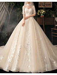 cheap -Ball Gown Sweetheart Neckline Watteau Train Lace / Tulle Short Sleeve Formal Elegant / Illusion Sleeve Wedding Dresses with Lace Insert 2020