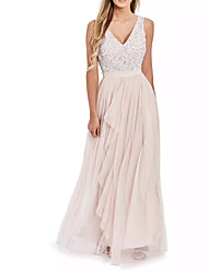 cheap -A-Line V Neck Floor Length Polyester Spring / Pink Graduation / Prom Dress with Sequin / Draping 2020