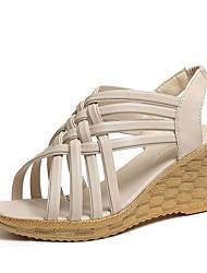 cheap -Women's Sandals Wedge Heel Peep Toe PU Summer Black / Brown / White