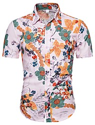 cheap -Men's Floral 3D T-shirt - Linen Basic Exaggerated Daily Going out Blushing Pink / Short Sleeve
