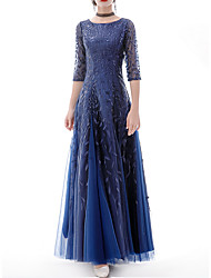 cheap -A-Line Minimalist Blue Prom Formal Evening Dress Jewel Neck Half Sleeve Floor Length Polyester with Appliques 2020
