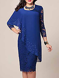 cheap -Women's Bodycon Dress Lace Chiffon Fashion Spring Blue Green S M L XL