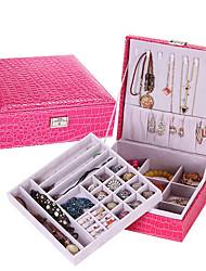 cheap -Jewelry Box - Leather Chocolate, Black, Red 26 cm 26 cm 9 cm / Women's
