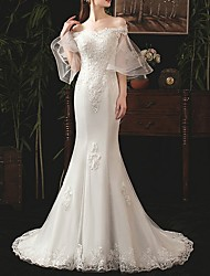 cheap -Mermaid / Trumpet Off Shoulder Sweep / Brush Train Lace Half Sleeve Beach Wedding Dresses with Lace Insert / Embroidery 2020