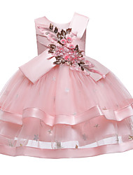 cheap -Kids Toddler Girls' Active Cute Floral Solid Colored Sequins Beaded Bow Sleeveless Knee-length Dress Blushing Pink