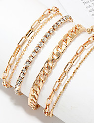 cheap -Body Chain Statement Classic Vintage Women's Body Jewelry For Daily Wear Vacation Layered Imitation Diamond Alloy Lucky Gold 4 Pieces