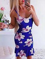 cheap -Women's Basic Skater Dress - Floral Print Blushing Pink Blue S M L XL