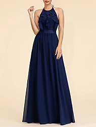 cheap -A-Line Halter Neck Floor Length Chiffon Flirty / Blue Prom / Wedding Guest Dress with Ruffles 2020