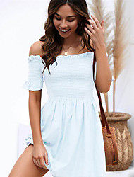 cheap -Women's Blue White Dress Sheath Solid Color Off Shoulder S M Slim