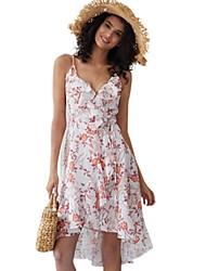 cheap -Women's White Dress A Line Floral Strap S M