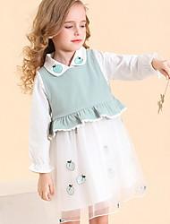 Недорогие -Дети (1-4 лет) Девочки Контрастных цветов Фрукты Платье Зеленый