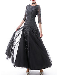 cheap -A-Line Jewel Neck Floor Length Polyester Sparkle / Black Prom / Formal Evening Dress with Appliques 2020