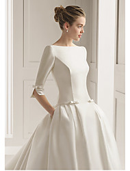 cheap -A-Line Wedding Dresses Bateau Neck Court Train Polyester Half Sleeve Sexy Plus Size with 2020