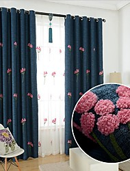 cheap -Two Panel Korean Garden Thickened Imitation Hemp Embroidered Blackout Curtains Living Room Bedroom Children's Room Home Curtains