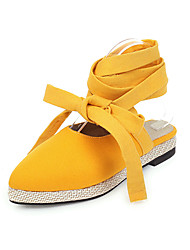 cheap -Women's Sandals Low Heel Round Toe Denim Vintage / Casual Summer Orange / Yellow / Gray