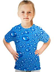 cheap -Kids Girls' Basic Street chic Color Block 3D Print Short Sleeve Tee Blue