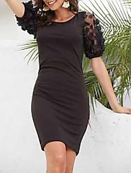 cheap -Women's Sheath Dress - Solid Color Black White S M L