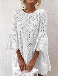 cheap -Women's A Line Dress - Long Sleeve Solid Color Lace Embroidery Hollow Out Spring Summer Vacation Beach White Blushing Pink Green Light Blue S M L XL XXL XXXL XXXXL XXXXXL