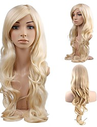 cheap -Synthetic Wig Curly Body Wave Halloween Asymmetrical Wig Long Light Blonde Synthetic Hair 34 inch Women's Best Quality Blonde