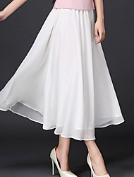 cheap -Women's Swing Skirts - Solid Colored White Black One-Size