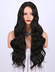cheap -Synthetic Wig Curly Body Wave Halloween Asymmetrical Wig Long Natural Black Synthetic Hair 24 inch Women's Best Quality Black