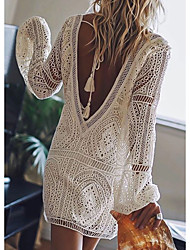 cheap -Women's Mini Shift Dress - Long Sleeve Solid Color Lace Backless Summer Deep V Sexy Vacation Beach White Red Blushing Pink Royal Blue S M L XL XXL