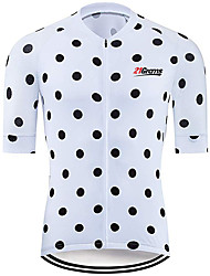 cheap -21Grams Men's Short Sleeve Cycling Jersey 100% Polyester Black / White Polka Dot Bike Jersey Top Mountain Bike MTB Road Bike Cycling UV Resistant Breathable Quick Dry Sports Clothing Apparel