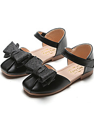 cheap -Girls' Flower Girl Shoes Synthetics Flats Little Kids(4-7ys) / Big Kids(7years +) Bowknot / Buckle Gold / Black / Silver Spring / Fall / Party & Evening