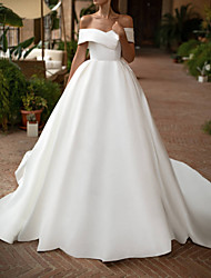 cheap -A-Line Wedding Dresses Off Shoulder Court Train Polyester Sleeveless Casual Plus Size with Draping 2020