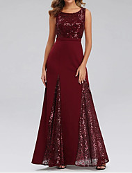 cheap -A-Line Jewel Neck Floor Length Chiffon Hot / Red Formal Evening / Wedding Guest Dress with Sequin / Draping 2020